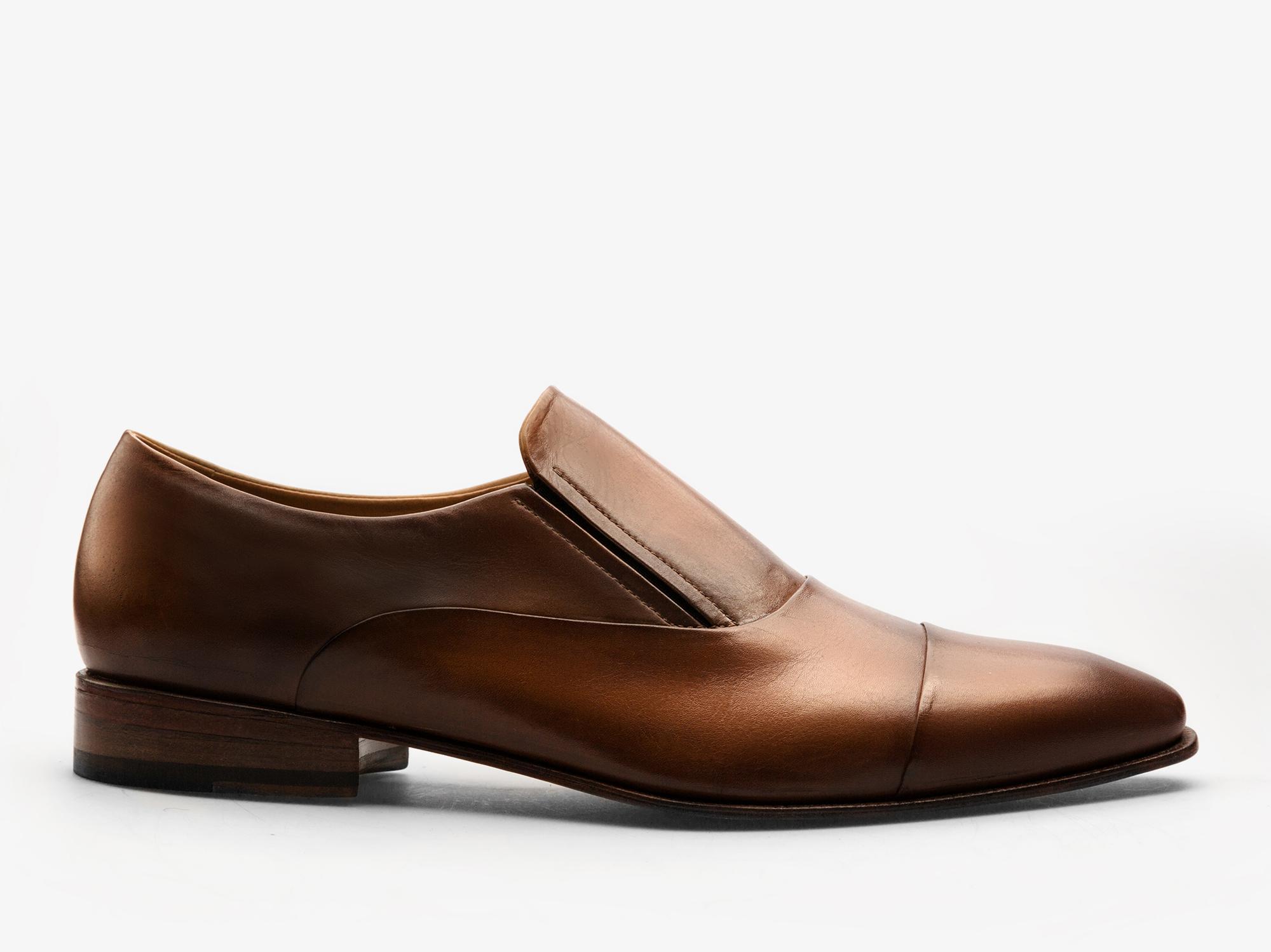 190) Кожаные оксфорды без шнуровки из кожи телёнка