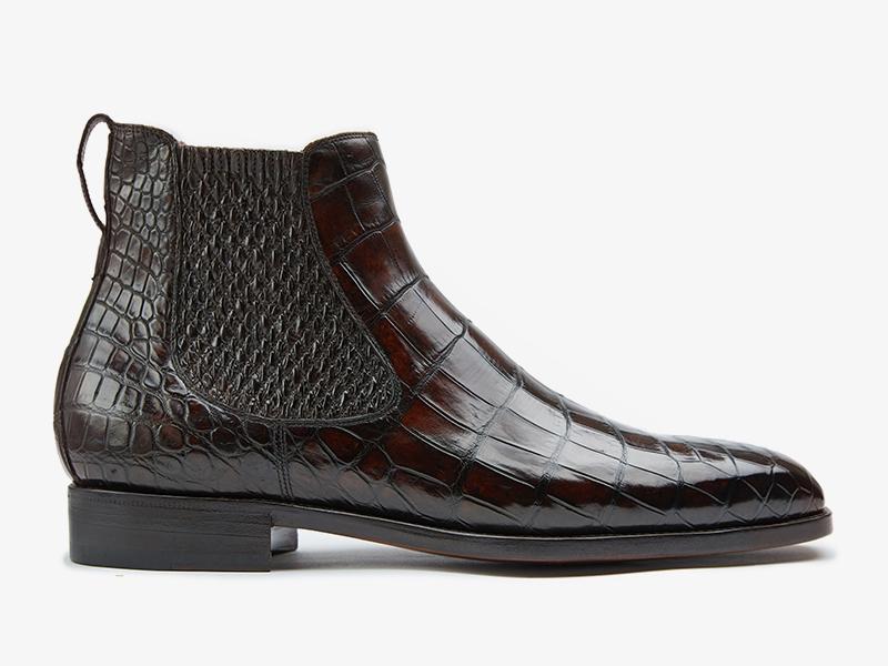 200) Ботинки Челси из кожи крокодила