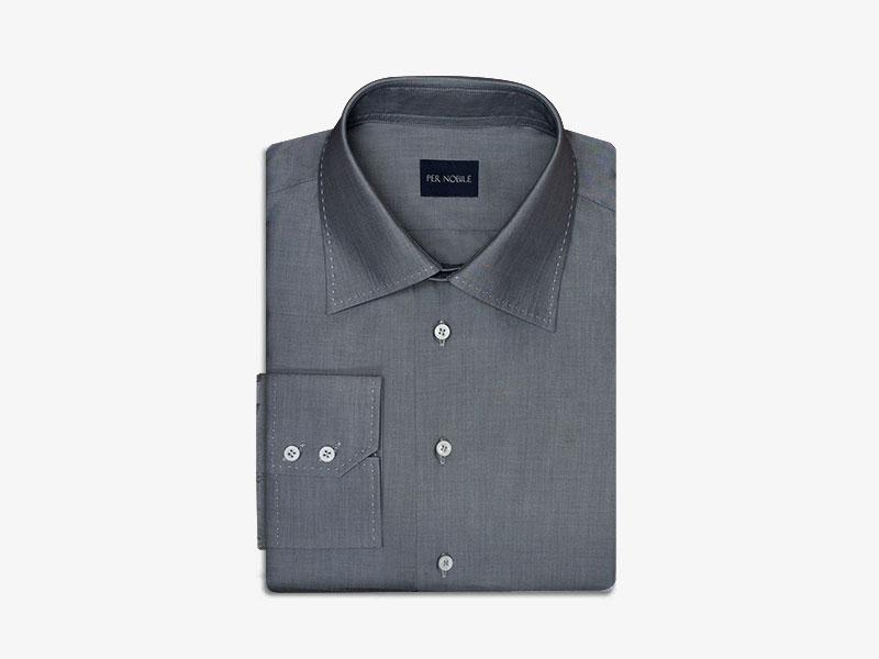 Тёмно-серая хлопковая сорочка pernobile.com