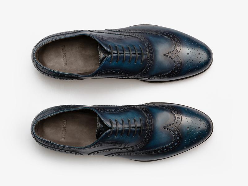 Тёмно-синие броги с патинированием Per Nobile