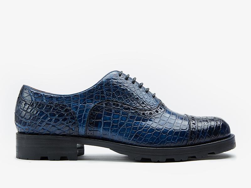 196)Синие оксфорды с брогированием из кожи крокодила