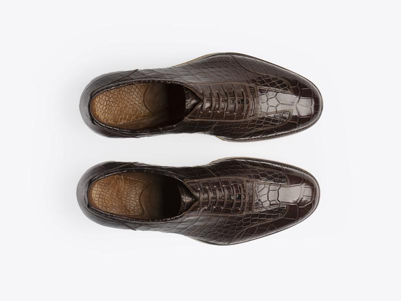 Туфли спортивные из кожи крокодила Per Nobile