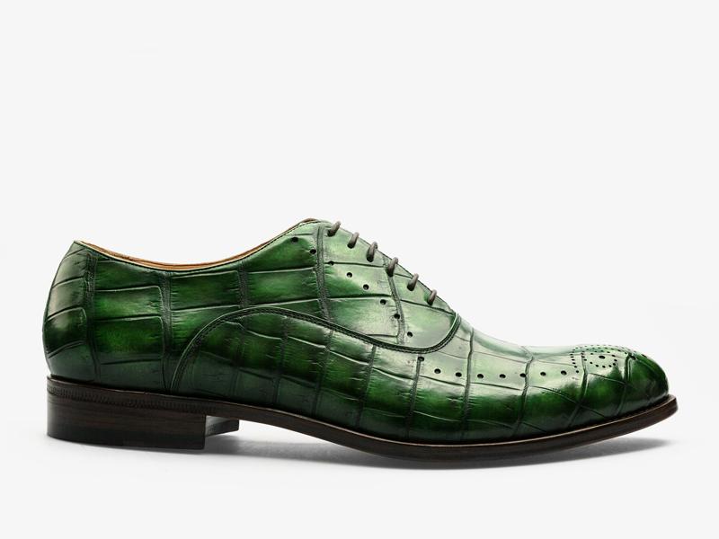 155)Зелёные оксфорды из кожи крокодила с перфорацией