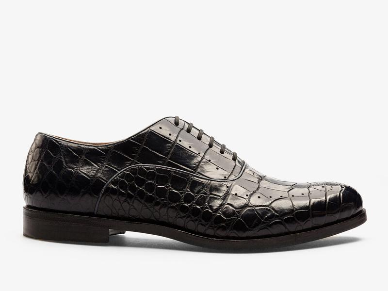 153)Оксфорды из кожи крокодила с орнаментом