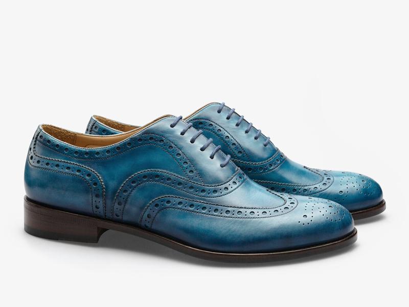 Голубые кожаные броги Per Nobile