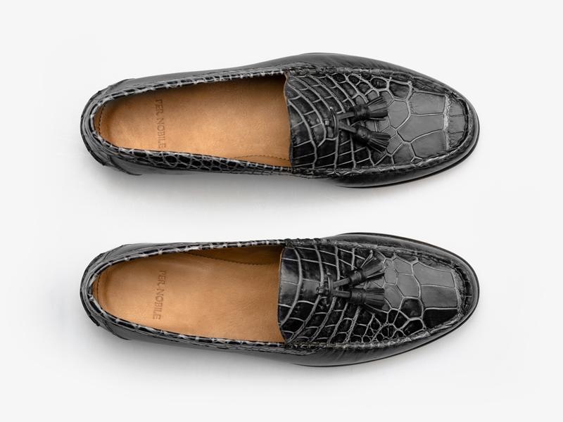 Чёрные мокасины из кожи крокодила и телёнка Per Nobile
