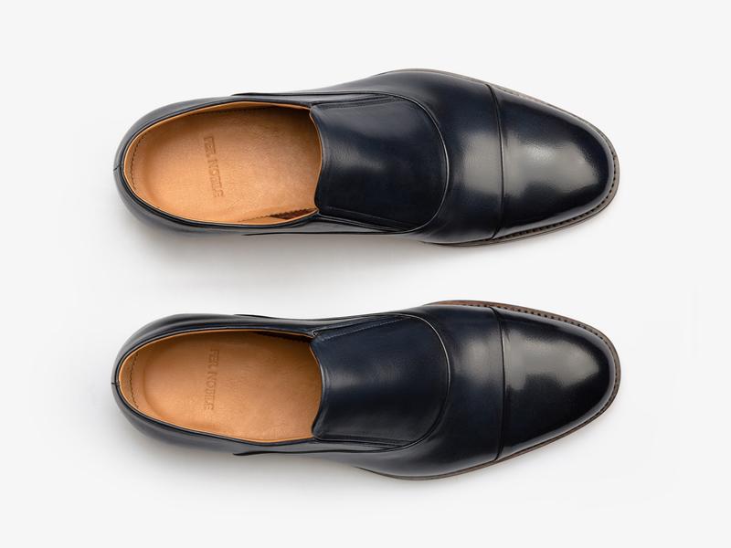 Кожаные оксфорды без шнуровки с круглым мысом Per Nobile