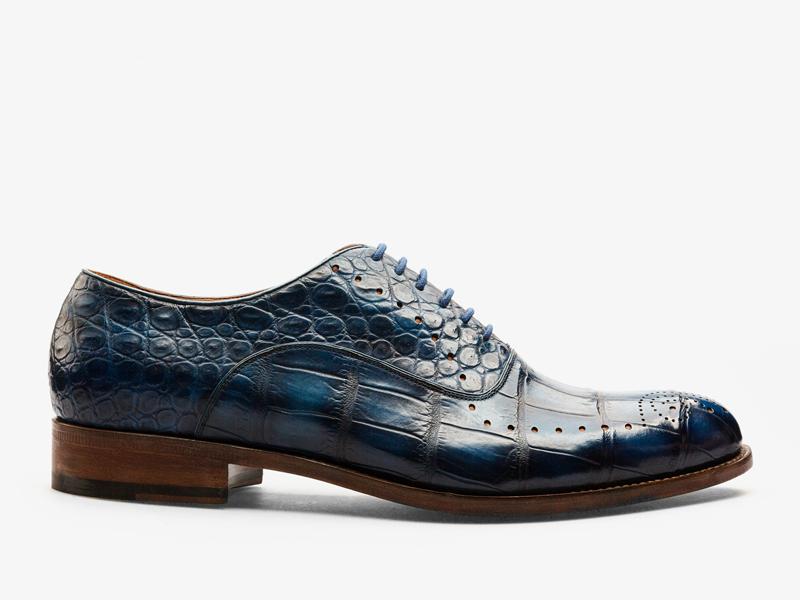 156)Синие оксфорды из кожи крокодила с перфорацией