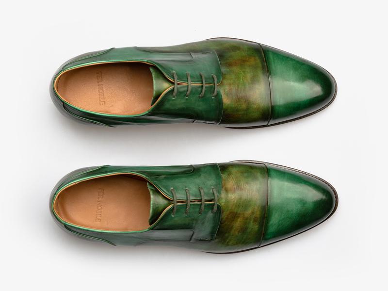 Дерби зелёные со скрытым французским швом Per Nobile