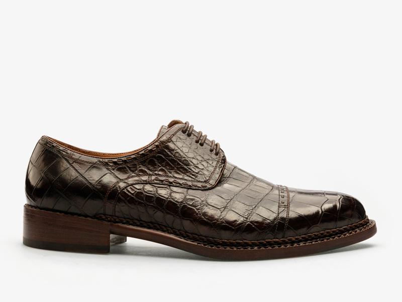131)Дерби из кожи крокодила с отрезным мыском