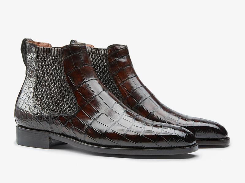 Мужские ботинки челси из кожи крокодила ателье Per Nobile