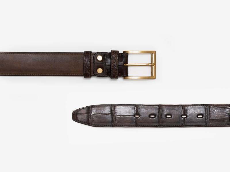Кожаный ремень с отделкой из кожи крокодила
