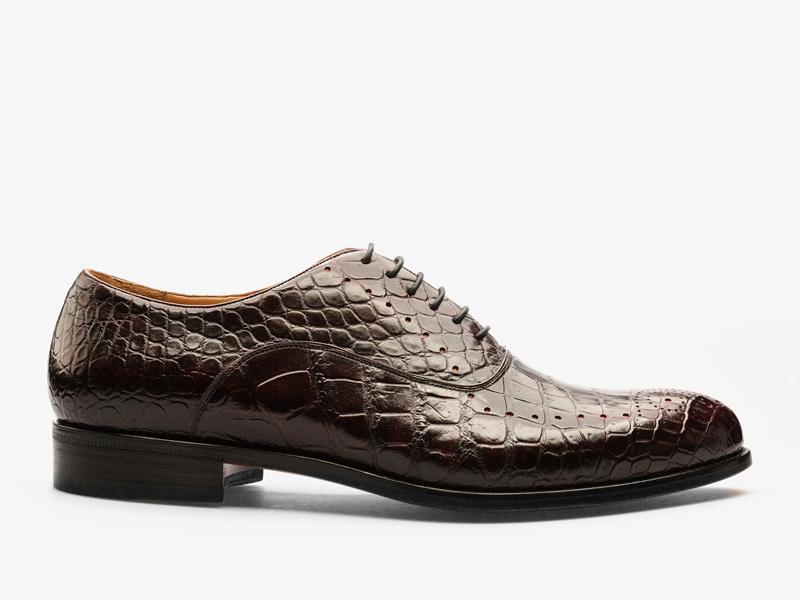 154)Оксфорды из кожи крокодила с брогированием
